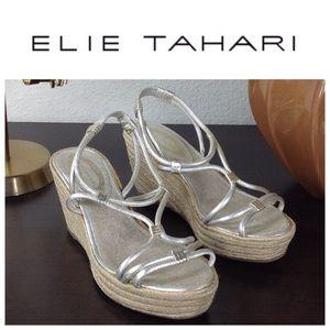 Elie Tahari Brushed Gold Leather Wedged Espadrille